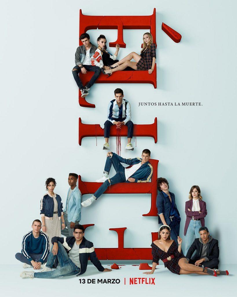 Póster de la tercera temporada de élite en Netflix.